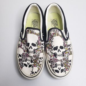 Vans Black & White Skull Print Slip On Sneakers